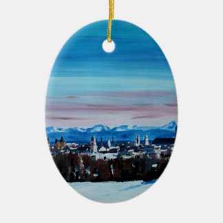 Snow Covered Munich Winter Panorama With Alps Double-Sided Oval Ceramic Christmas Ornament