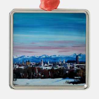 Snow Covered Munich Winter Panorama With Alps Square Metal Christmas Ornament