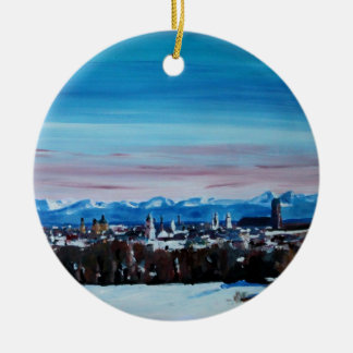 Snow Covered Munich Winter Panorama With Alps Double-Sided Ceramic Round Christmas Ornament