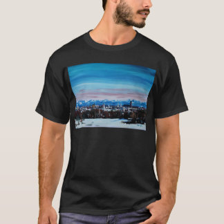 Snow Covered Munich Winter Panorama With Alps T-Shirt