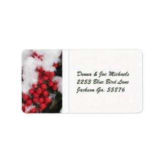 Snow Covered Nandina Berries Address Stickers Custom Address Label
