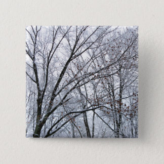 Snow-covered Oak Tree Button