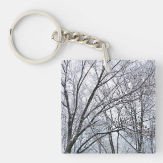 Snow-covered Oak Tree Keychain