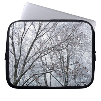 Snow-covered Oak Tree Laptop Computer Sleeve