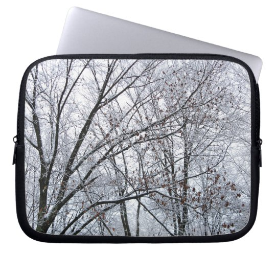 Snow-covered Oak Tree Laptop Sleeve
