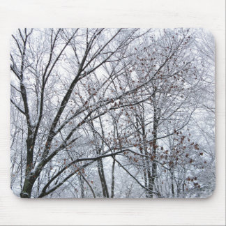 Snow-covered Oak Tree Mouse Pad