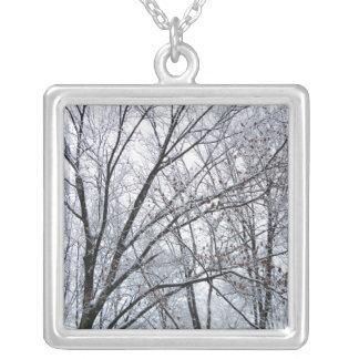 Snow-covered Oak Tree Pendant