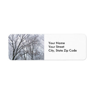 Snow-covered Oak Tree return address label