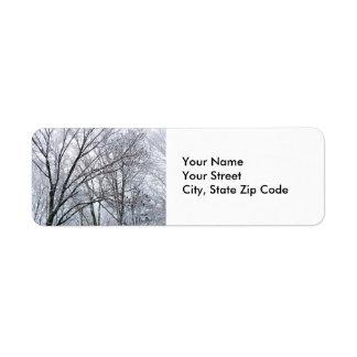 Snow-covered Oak Tree return address label