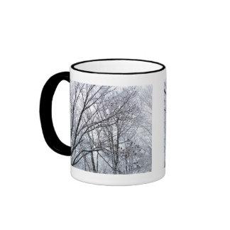 Snow-covered Oak Tree Ringer Coffee Mug