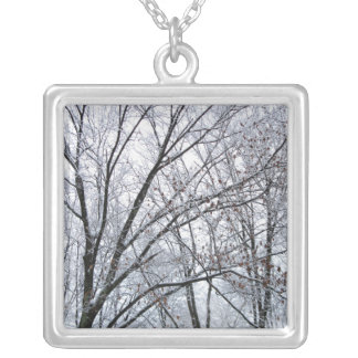 Snow-covered Oak Tree Square Pendant Necklace