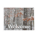 Snow Covered Oak Trees Winter Nature Photography Doormat