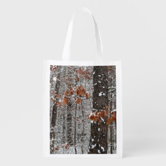 Snow Covered Oak Trees Winter Nature Photography Grocery Bag
