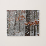 Snow Covered Oak Trees Winter Nature Photography Jigsaw Puzzle