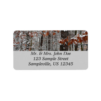 Snow Covered Oak Trees Winter Nature Photography Label