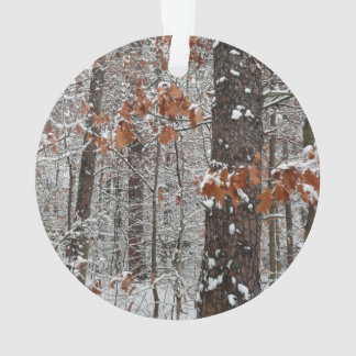 Snow Covered Oak Trees Winter Nature Photography Ornament