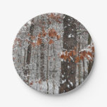 Snow Covered Oak Trees Winter Nature Photography Paper Plate