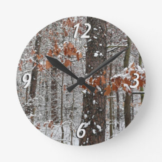 Snow Covered Oak Trees Winter Nature Photography Round Clock