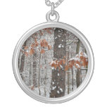 Snow Covered Oak Trees Winter Nature Photography Silver Plated Necklace
