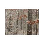 Snow Covered Oak Trees Winter Nature Photography Wood Poster
