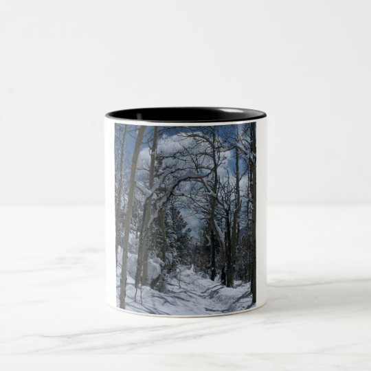 Snow covered path through the Rocky Mountains Two-Tone Coffee Mug