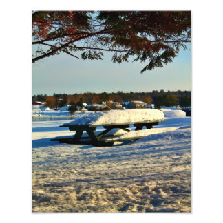 Snow Covered Picnic Table Photo Print
