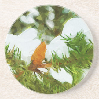 Snow covered Pine Abstract Impressionism Sandstone Coaster