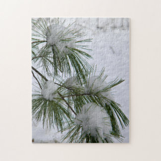 Snow Covered Pine Needles Jigsaw Puzzle