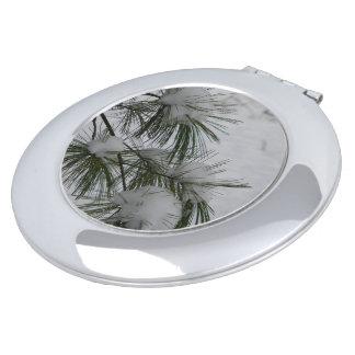 Snow Covered Pine Needles Travel Mirror
