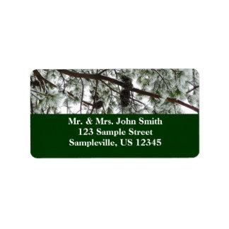 Snow Covered Pine Return Address Label