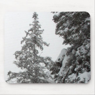 Snow Covered Pine Trees Mouse Pad