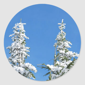 Snow Covered Pines Classic Round Sticker
