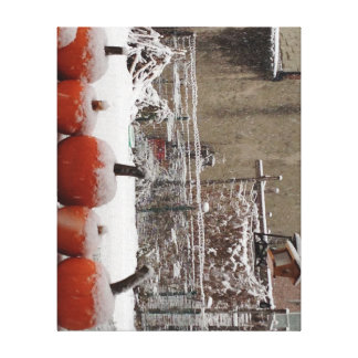 Snow covered pumpkins stretched canvas print