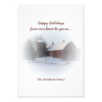 Snow Covered Red Barn and Silo Happy Holidays Card