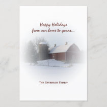 Snow Covered Red Barn and Silo Happy Holidays Holiday Card