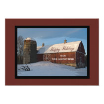 Snow Covered Red Barn Business Happy Holidays Card