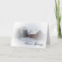 Snow Covered Red Barn Country Christmas Card