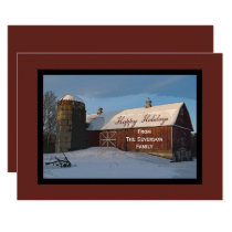 Snow Covered Red Barn Happy Holidays Card