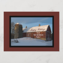 Snow Covered Red Barn Happy Holidays Holiday Card