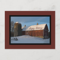 Snow Covered Red Barn Happy Holidays Holiday Postcard