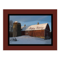 Snow Covered Red Barn Happy Holidays Postcard