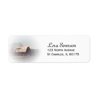 Snow Covered Red Barn Return Address Label