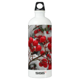 snow covered red berries aluminum water bottle