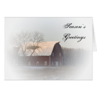 Snow Covered Red Country Barn Business Christmas Greeting Card