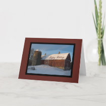 Snow Covered Red Country Barn Happy Holidays Holiday Card