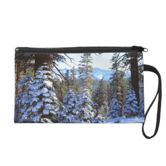 Snow-covered Red Fir trees in the High Sierra 2 Wristlet Clutches