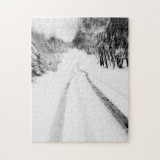 Snow Covered Road in the Poconos Puzzles