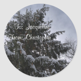 Snow Covered Spruce Tree Gift Tag Stickers