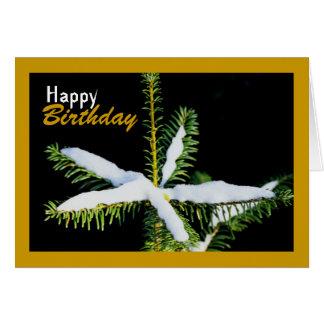 Snow-Covered Star on Pine Tree, Birthday Card