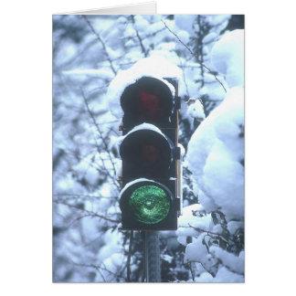 snow covered streetlight greeting card